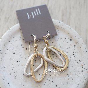 J. Jill Two toned Oval Hoop Drop Earrings